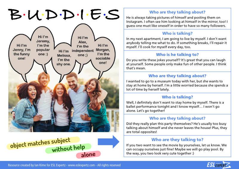 BUDDIES! A reflexive pronoun activity